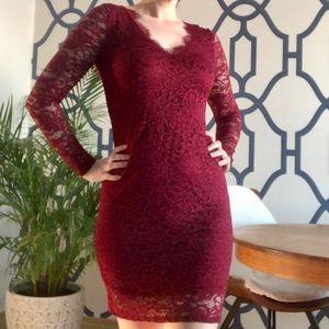 SIGNATURE BY REITMANS Wine Lace Dress